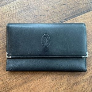 Cartier Beautiful Long Black Leather Wallet